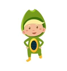 Kid in avocado costume vector