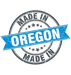 Made in oregon blue round vintage stamp vector