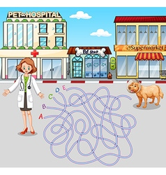 Game template with vet and pet at hospital vector image