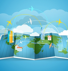 Airplanes flying over the abstract map with modern vector image vector image