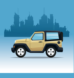 Beige jeep sport city background vector