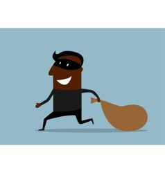 Black thief running with sack of loot vector image vector image