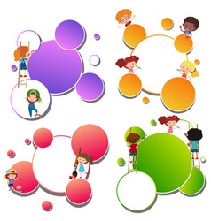 Border templates with kids painting vector
