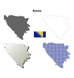 Bosnia and herzegovina outline map set vector