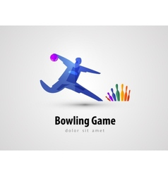Bowling logo design template game or entertainment vector