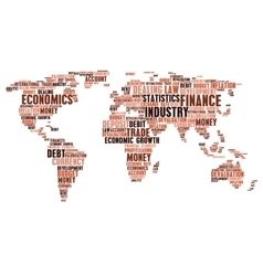 Business finance word cloud tags world map shape vector