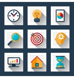 Business icons set in flat style vector image vector image