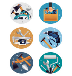 carpenter tools realistic compositions icons vector image