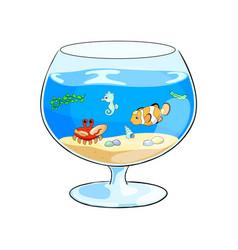 cartoon with aquarium and vector image vector image