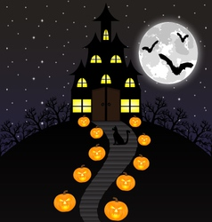 Castle witches and pumpkins on halloween vector