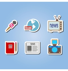 color set with journalism icons vector image
