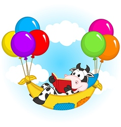 Cow reading book and flies on balloons in hammock vector