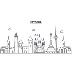 estonia talinn architecture line skyline vector image
