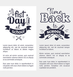 First day at school sticker isolated on white vector
