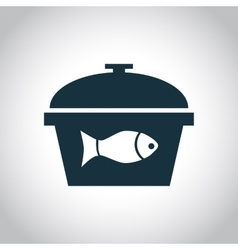 Fish in the saucepan icon vector