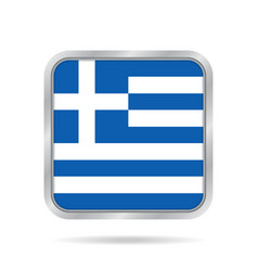 flag of greece shiny metallic gray square button vector image