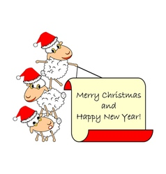 Funny Christmas cartoon sheep vector image