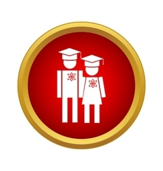 Graduates in graduation cap icon simple style vector image vector image