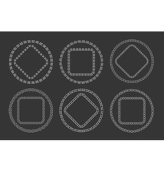 Hand drawn geometric frame set in tribal doodle vector image vector image