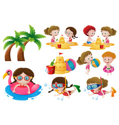 kids doing different activities on the beach vector image