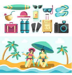 Man and woman on beach and set of vacation things vector