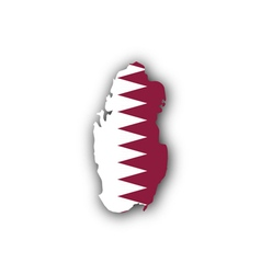 Map and flag of Qatar vector image vector image