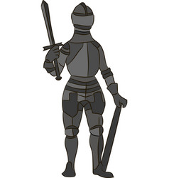 Medieval knight in metal armor vector