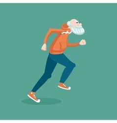 Old man running vector image vector image