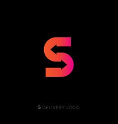 s monogram delivery service logo vector image