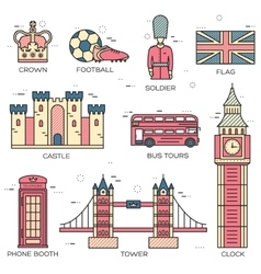 Tower flag map guard earth travel london vector