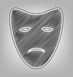Tragedy theatrical masks pencil sketch vector