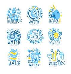 Water or aqua set for logo design organic vector