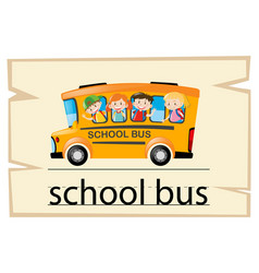 wordcard template for word school bus vector image