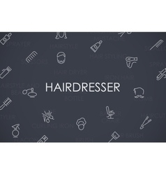 Hairdresser thin line icons vector