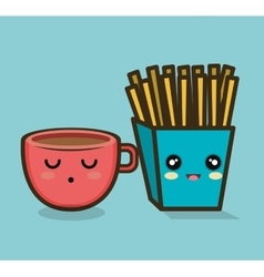 Character cup and fries design vector