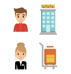 Bellboy receptionist and bag of hotel design vector