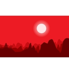 On hill pavilion scenery of silhouettes vector