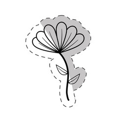 Cute flower bloom cut line vector