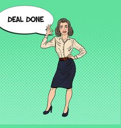 Pop art happy business woman gesturing ok vector