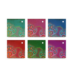 Square paisley tags vector