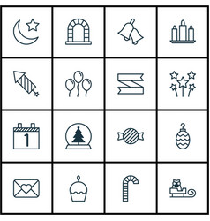 Set of 16 celebration icons includes toffee candy vector