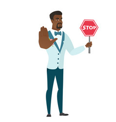 African-american groom holding stop road sign vector