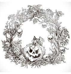 Festive decorative Halloween wreath vector image