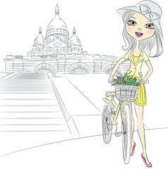 Girl with bike in paris vector