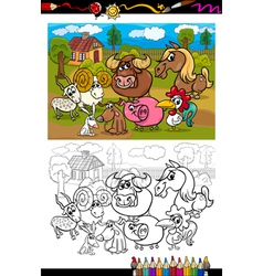 Cartoon farm animals for coloring book vector