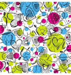 Valentines background with hand drawn hearts vector