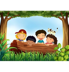 Children and forest vector image