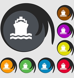 Ship icon sign symbol on eight colored buttons vector