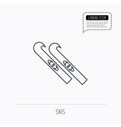 Skiing icon skis sign vector