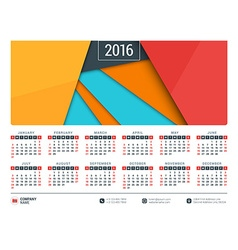 Calendar for 2016 year stationery design template vector